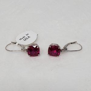 NWOT - 10k White Gold Ruby Drop Earrings